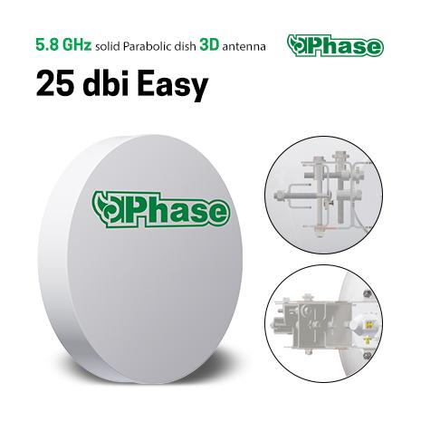 آنتن دیش 25Dbi فاز با ایزولاتور Phase 25dBi Easyیکی از محصولات شرکت فاز می باشد که به جهت ارتباطات نقطه به نقطه در فواصل تا 20 کیلومتر طراحی شده است . این محصول با دارا بودن توان 25Dbi قابلیت کارکرد در فرکانس 5.1 - 5.8 Ghz