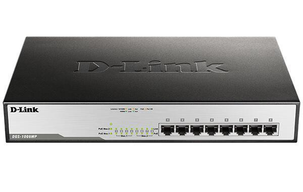 سوئیچ شبکه 8 پورت POE دی لینک D-link DGS-1008MPدارای 8 پورت اترنت 10/100/1000 به همراه چراغهای نمایشگر وضعیت پورتها بر روی خود است که به POE نیز مجهز شده است و از استاندارهای 802.3af/at پشتیبانی می کند . توان خروجی برای هر پورت به میزان 30 Watt و توان کل سوئیچ 140 watt می باشد . این سوئیچ ازقابلیت MDI/MDIX به صورت Auto پشتیبانی نموده و دارای جدول مک آدرس تا 8K می باشد . لازم به ذکر استDGS-1008MP از سری دیلینک سبز می باشد که در واقع این سری دارای قابلیت صرفه جویی در مصرف انرژی می باشند .
