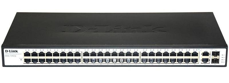 سوئیچ 48 پورت 10/100 و 2 پورت گیگ دی لینک D-link DES-1050Gدارای 48 پورت اترنت 10/100 و 2 پورت گیگ به همراه چراغهای نمایشگر وضعیت پورتها بر روی خود است و جزو محصولات پرطرفدار دیلینک می باشد .این سوئیچ ازقابلیت MDI/MDIX به صورت Auto پشتیبانی نموده و دارای جدول مک آدرس تا 8K و استاندارد IEEE 802.3x Flow Control نیز می باشد . از این محصول می توانید برای ارتباطات نیمه سنگین خود استفاده کرده و روی آن حساب کنید .