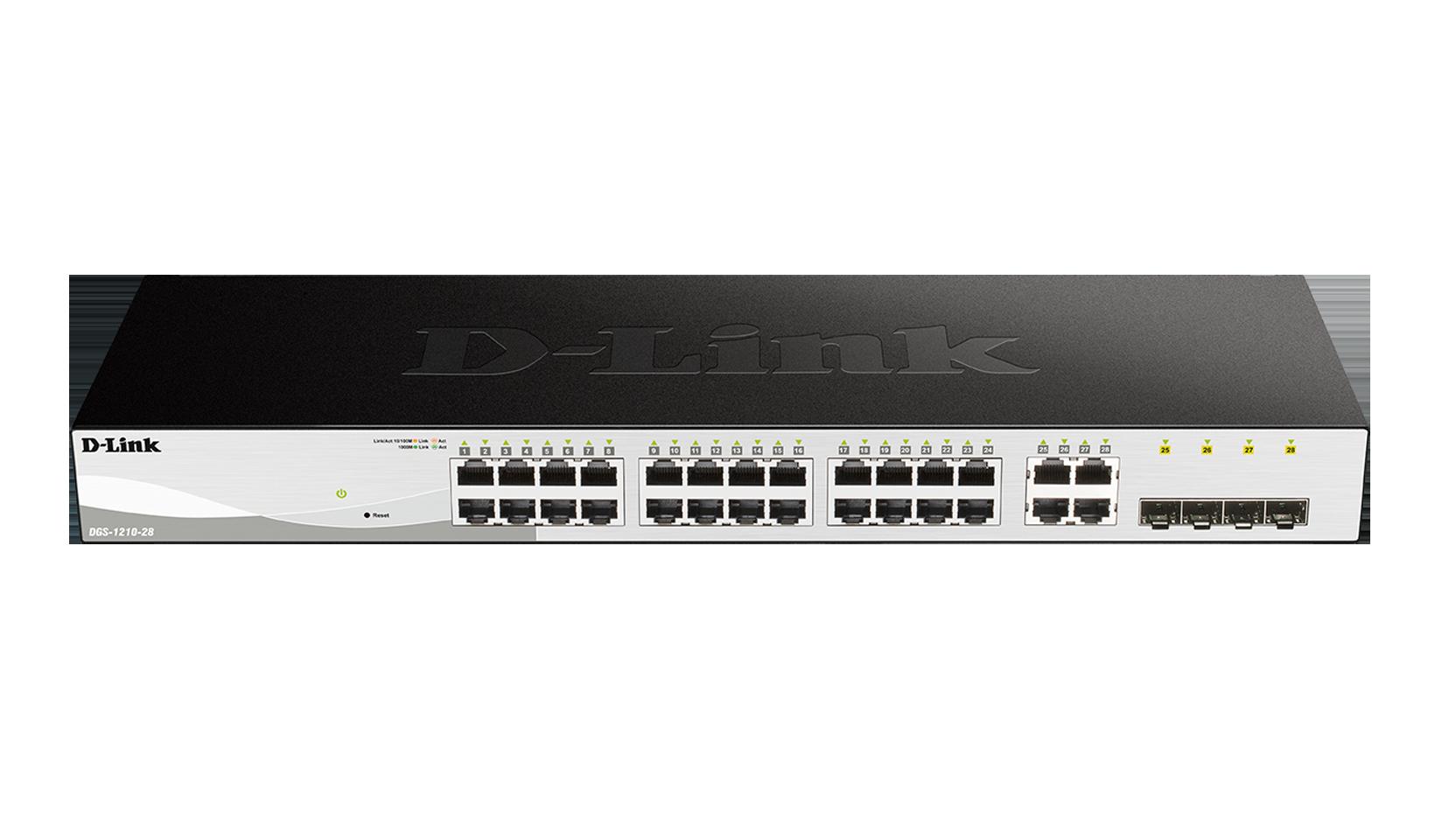 سوییچ 28 پورت دی-لینک مدل D-link DGS-1210-28یکی از محصولات دی لینک که همانند سایر محصولات دی لینک دارای کیفیت ساخت بسیار عالی بوده و می تواند نیازهای شما را برطرف سازد این سوئیچ قابلیت مدیریت Vlan , Qos , SysLog , Telnet , DHCP و برخی امکانات دیگر را دارد . این سوئیچ قابلیت نصب بسیار ساده را داشته و مجهز به سیستمHibernation نیز می باشد . با افزار نت همراه باشید برای بررسی بهتر و دقیق تر محصول DGS-1210-28 .