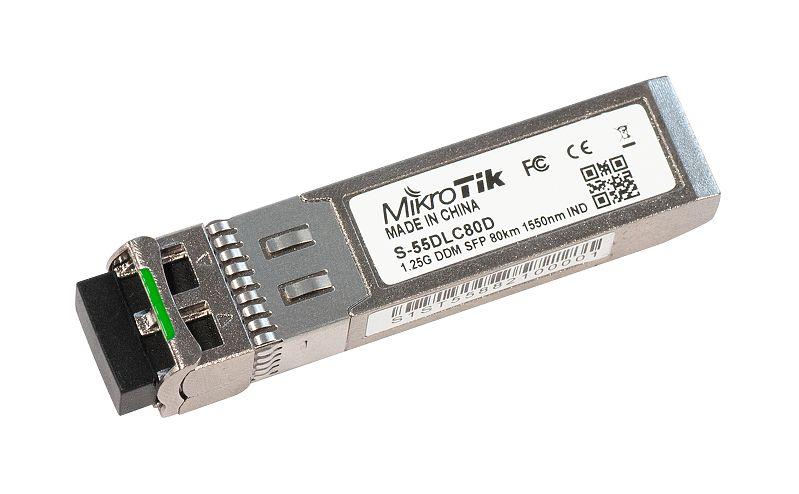 ماژول فیبر نوری سینگل مد میکروتیک Mikrotik S-55DLC80D یکی دیگر از ماژول های فیبر نوری میکروتیک است که قابلیت سازگاری به کلیه تجهیزات میکروتیک که دارای پورت SFP و SFP+ می باشند را دارد . این ماژول قابلیت کارکرد در دمای-40°C to +85°C را دارا می باشد که خود یکی از محسنات آن به شمار می رود . با افزار نت همراه باشید برای بررسی دقیق ترMikrotik S-55DLC80D .
