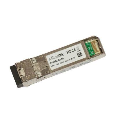 ماژول فیبر نوری SFP+ مالتی مد Mikrotik S+85DLC03D یکی از ماژولهای میکروتیک است که برای سرعت 10G طراحی و ساخته شده است . این ماژول توسط کمپانی میکروتیک بر روی دستگاههایCCR1036-8G-2S+ and CCR1036-8G-2S+EM تست شده و قابل استفاده می باشد .