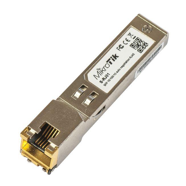 ماژول مبدل Rj45 میکروتیک Mikrotik S-RJ01 یکی از ماژولهای میکروتیک است که برای اتصال به روترهایی طراجی شده است که دارای پورت فیبر می باشند و کاربر نیاز به پورت rj45 دارد که پس از اتصال می تواند یک پورت RJ45 در اختیار شما قرار دهد . برای مثال می توانیم +CCR1016-12S-1S را نام برد .