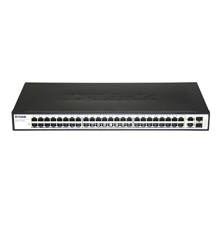 سوئیچ 48 پورت 10/100 و 2 پورت گیگ دی لینک D-link DES-1050Gدارای 48 پورت اترنت 10/100 و 2 پورت گیگ به همراه چراغهای نمایشگر وضعیت پورتها بر روی خود است
