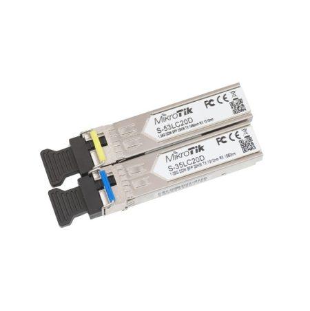 ماژول سینگل مد فیبر نوری میکروتیک Mikrotik S-3553LC20D یکی از محصولات و ماژول های میکروتیک است که در واقع متشکل از دو ماژول فیبر نوری می باشد که